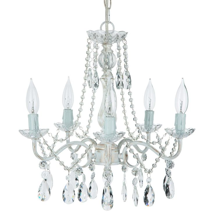5 light swoop arm crystal plug in chandelier whitewashed