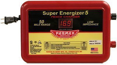 Parmak Super Energizer 5 Low Impedance 110/120 Volt 50 Mile Range Electric Fence