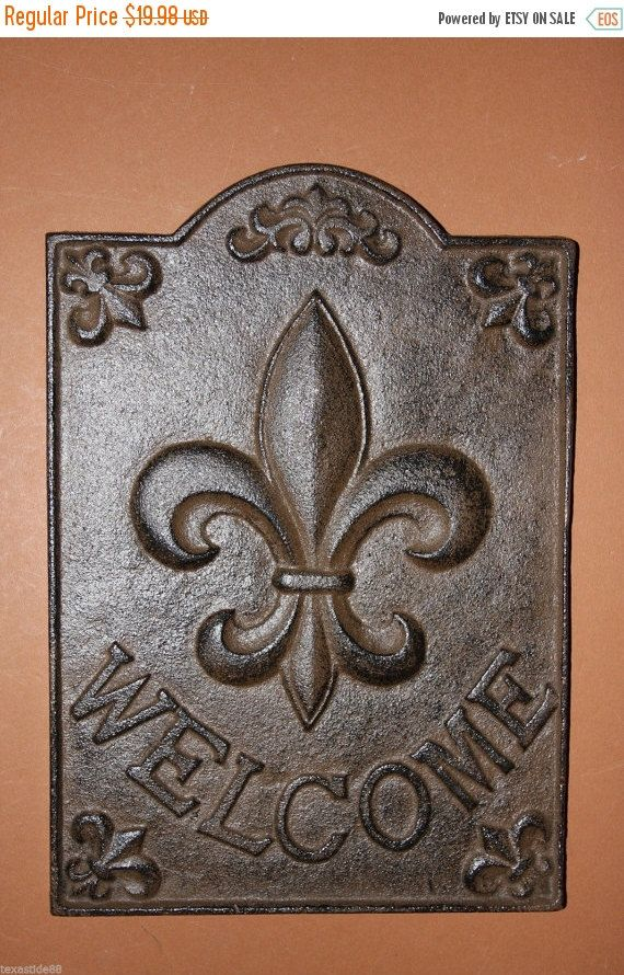 ON SALE 1, Fleur De Lis, Welcome Sign, Cast Iron, Front Door Decor, Foyer…