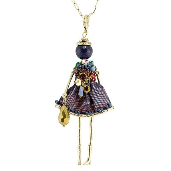 French Doll Necklace - Navy & Jewel Beading (gold chain)