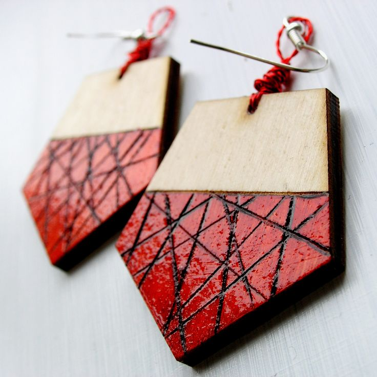 #wood #wooden #handcraft #handmade #pyrography #red #pendientes #rojo