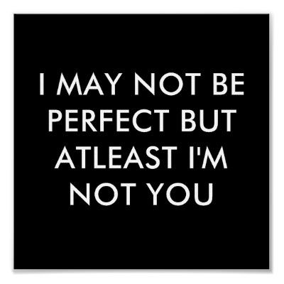 Amen!!! Even with all my imperfections and bad habits, and other issues in life...at least I'm NOT YOU.
