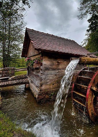 Old Water Wheel Mills. Love watching the water wheel go round and round.  It is awesome!