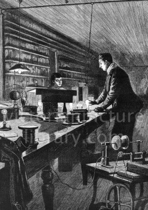 27 best science and technology images on pinterest card sentiments gilded age illustration from of edison in his laboratory experimenting with electric light with his assistant on a long table are lit and unlit light bulbs m4hsunfo