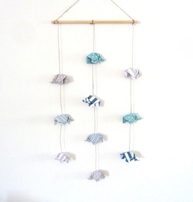 mobile 10 lphant en origami pour dcoration murale chambre bb garon enfant bleu vert