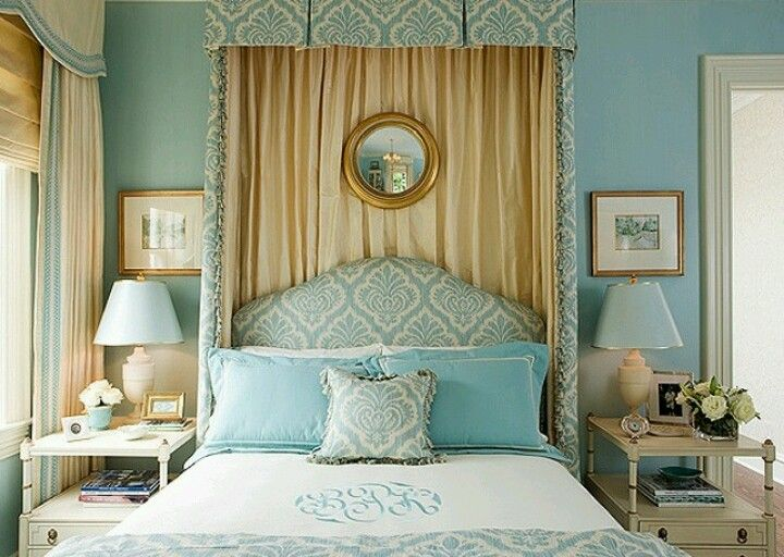 Image result for blue metallic gold brocade curtain bed