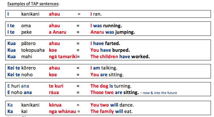 Springston Te Reo : TAP Tense Action Pronoun Statement Sentences
