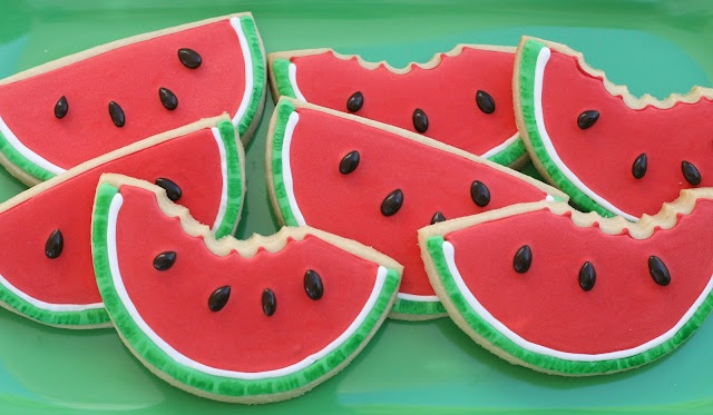 Glorious Treats » Watermelon (shaped) Cookies