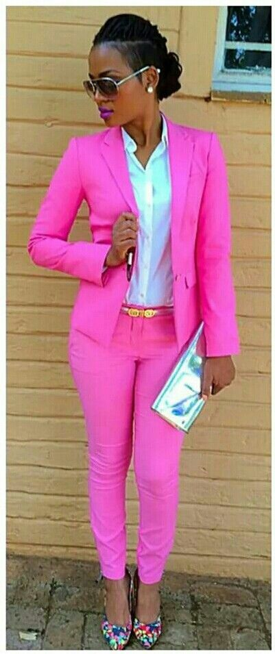 Pink pant suit.     For more great pins go to @KaseyBelleFox