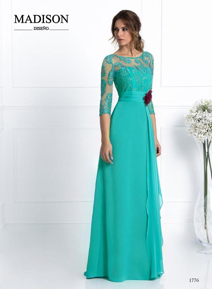 vestido de fiesta largo color verde turquesa de encaje