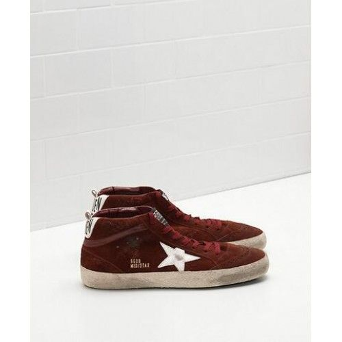 2017 Golden Goose Mid Star Chaussures Homme GGDB Sneakers Vin Rouge Blanc Soldes