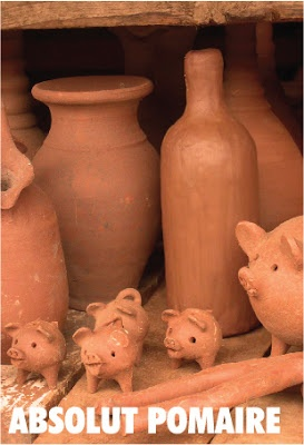 Absolut Pomaire, Chile  -- native Chilean pottery  (pigs, piglets, jugs and bottles) from Pomaire