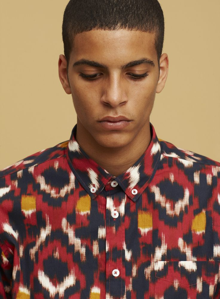 ikat printed mens shirt. Please like http://www.facebook.com/RagDollMagazine and…