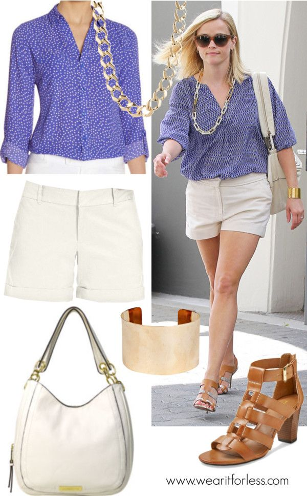 Reese Witherspoon steps out in Brentwood wearing a periwinkle button-down, crisp cotton shorts and a cool art deco necklace.