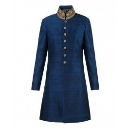 Blue Silk Sherwani