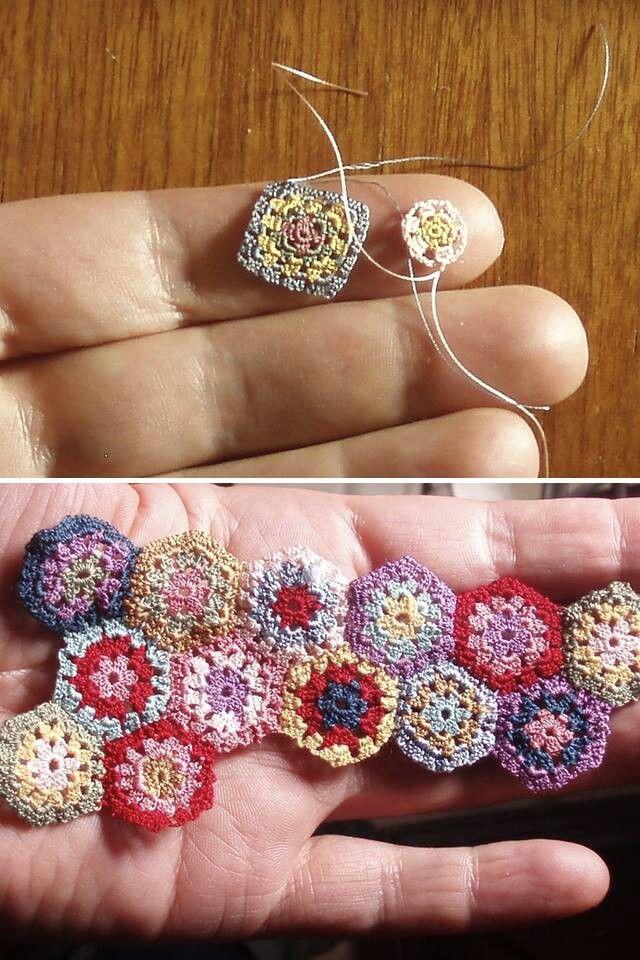 Minis granny. Trop mignons. Une super idée à crocheter avec le fil Spécial Dentelle pour créer des petits bijoux.