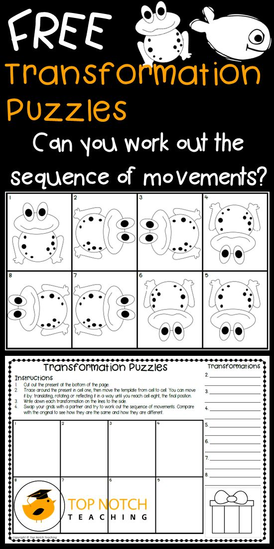 Transformation puzzles are a fantastic way to help your students visualize and learn about translating, rotating and reflecting irregular figures.