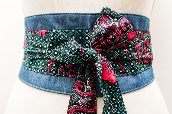 Turquoise Print Denim Belt  Denim corset obi belt  Denim