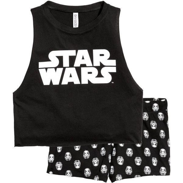 Pajama Tank Top and Shorts $17.99 ($15) ❤ liked on Polyvore featuring intimates, sleepwear, pajamas, star wars, short pajamas, cotton jersey, short pyjamas and short pajama set