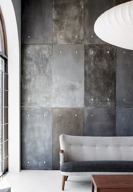 make your own concrete effect feature wall using cement fibre board with plaster and paint - Concrete Design Ideas