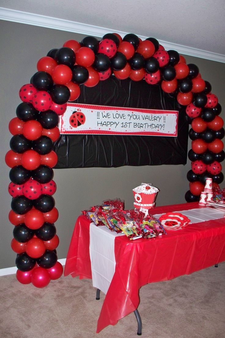 My ladybug themed balloon arch balloons pinterest for Arch decoration supplies