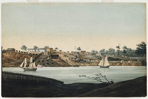 Green Hills (Windsor) c1807, the main town in the Hawkesbury district and a centre of opposition to the rebellion. Reproduced courtesy of Mitchell Library, State Library of NSW.