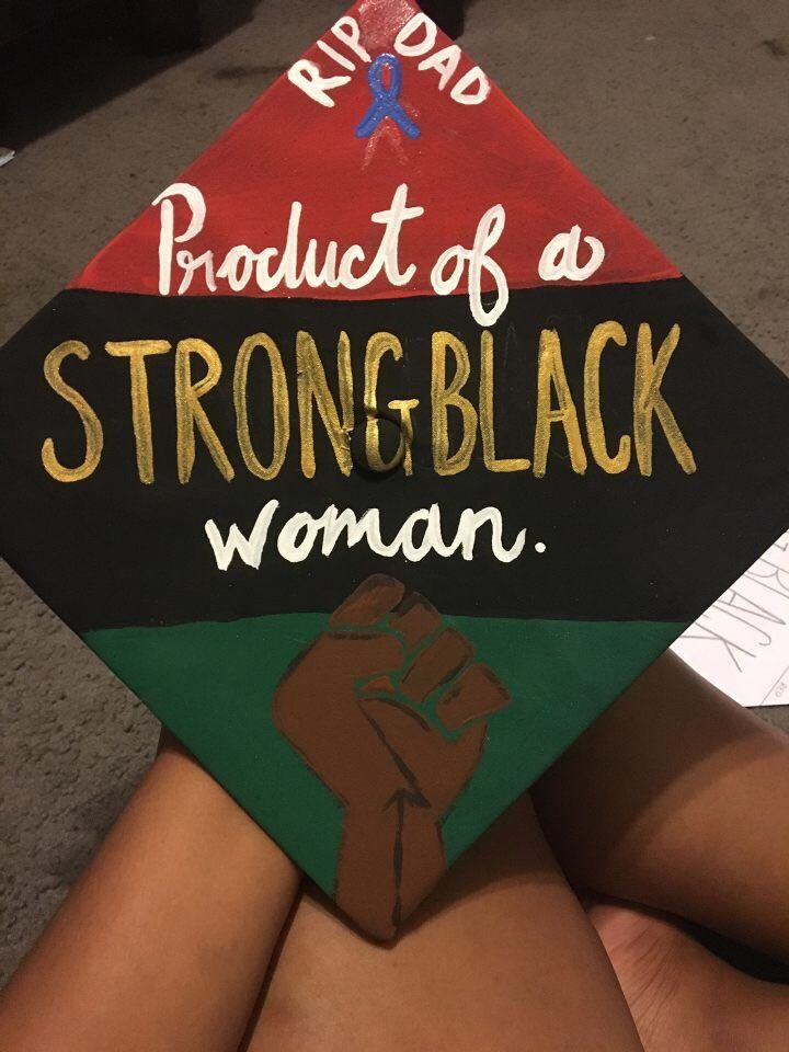 @Brivnnvv's product of strong black woman grad cap for University of North Texas (#UNT) graduation