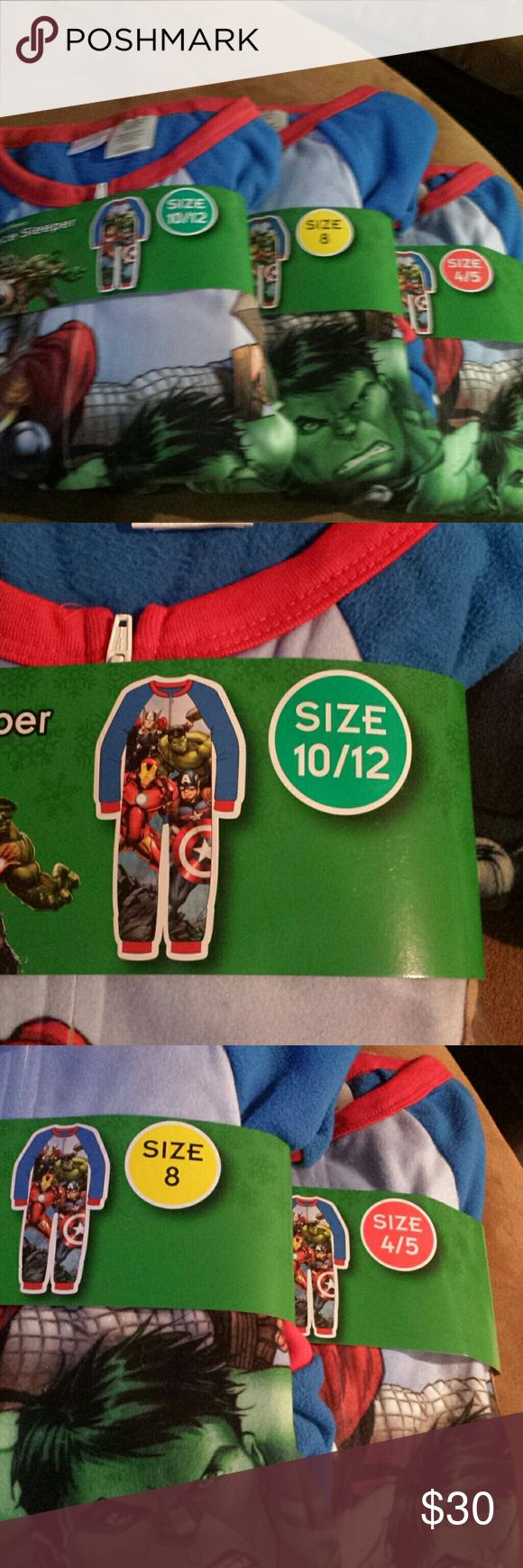 MARVEL Avengers Boys 1pc Pajama (4/5, 8, 10/12) 3 sizes available. New with tag. 1pc pajama for boys. Flannel marvel aleepwear. Very comfy pajamas. $20 each avengers One Pieces Bodysuits