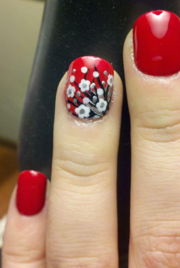Cherry blossom inspired nail design