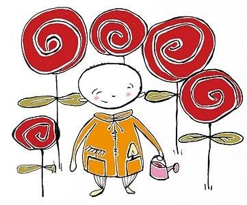 Childrens book illustration. In my rose garden.