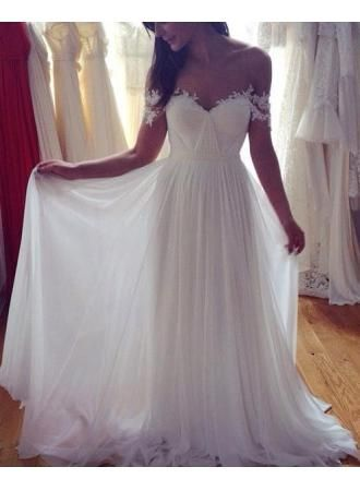 Simple+Elegant+Off+shoulder+Beach+Wedding+Dresses+2016+Floor+Length+With+Appliques Fabric:Chiffon+ Hemline/Train:Floor-length+ Back+Detail:Zipper+ Sleeve+Length:sleeveless+ Shown+Color:refer+to+image Built-In+Bra:yes This+is+a+Made-to-Order+item.+All+colors+and+sizes+are+available+and+...