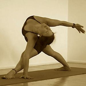 triangle pose with an open heart