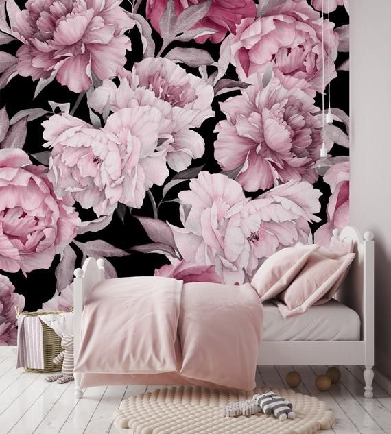 Removable Wallpaper Pink Peony On Black Background Peel Etsy In 2021 Wallpaper Pink And White Mural Wallpaper Removable Wallpaper
