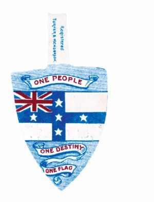 The Australasian Federation League used this Australian flag badge to promote federation in the referendum of 1898. Source: MS 47, National Library of Australia.