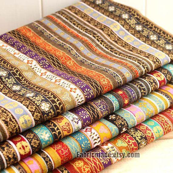 Colorful Stripe Cotton Linen Fabric BOHO Bohemian Style Garment Chair Cushion Fabric- Fabric by Yard 1/2 Yard