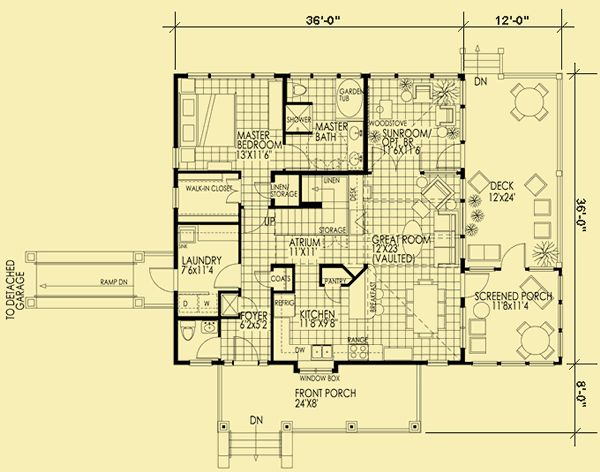 Architectural house plans floor plan details small sun for Maine cottage house plans