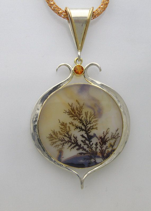 Reserved for rswaddoups Dendritic Agate and Citrine Forged Pendant in 14ky and Argentium Silver