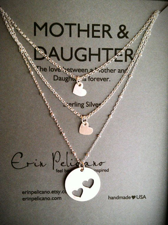 Mother Two Daughters Necklace Set // Inspirational Jewelry // Simple Delicate