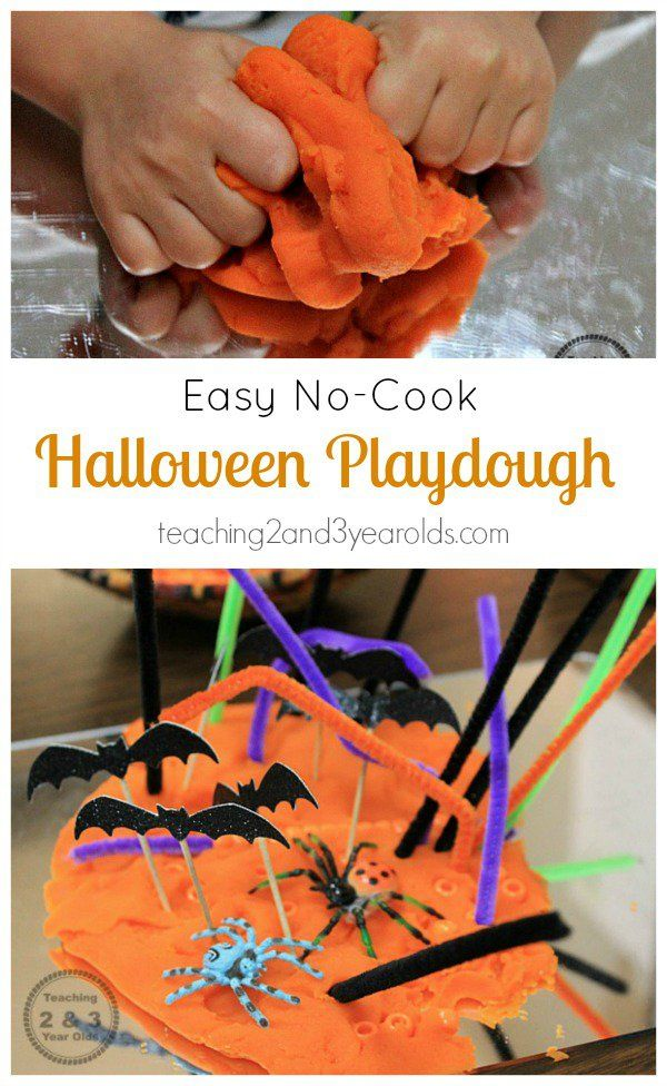 Halloween no-cook play dough for preschoolers that includes fine motor fun - Teaching 2 and 3 Year Olds