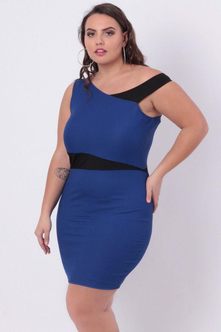 Plus Size Color Block Dress - Blue