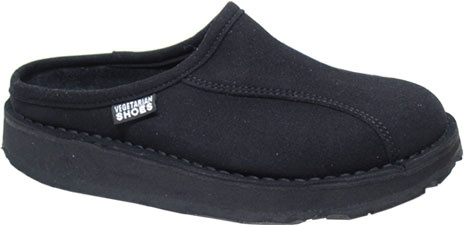 From Vegetarian Shoes.  Sale for $60.00  Synthetic Suede Mule, Recycled Tire Tread Sole.  They suggest ordering up one size.