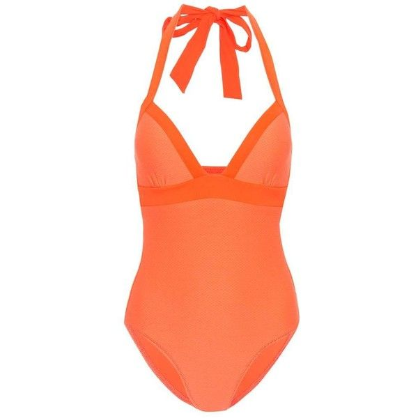 Heidi Klein Havana Push Swimsuit ($310) ❤ liked on Polyvore featuring swimwear, one-piece swimsuits, beachwear, orange, swimsuits, orange swimsuit, heidi klein swimwear, orange swimwear, orange bathing suit and orange one piece swimsuit