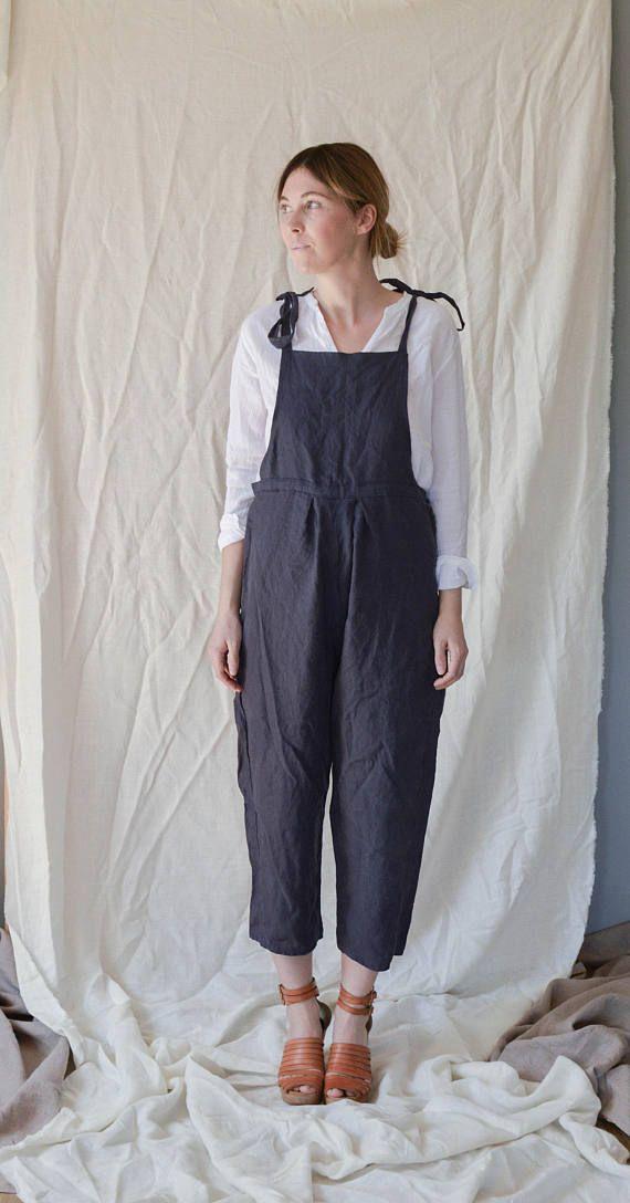 Blue Linen Jumpsuit Overall Pants Size S/M