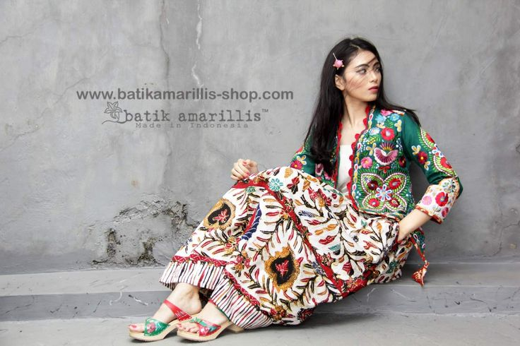 Batik Amarillis made in Indonesia www.batikamarillis-shop.com This is just super gorgeous!! New Batik Amarillis's Arcana jacket which features Hungarian's Matyo embroidery style and inspired , the combo of Batik Skirt with gendongan bayi pattern with Hungarian embroidery style is just simply out of this world!
