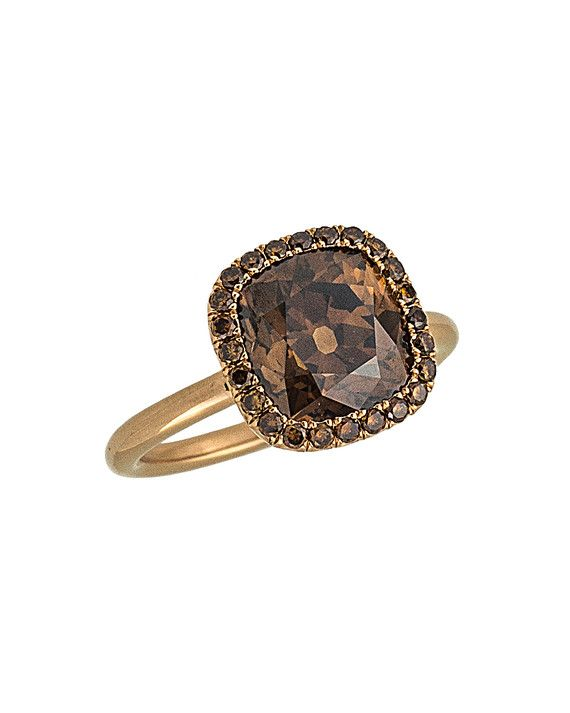 Stephen Russell cushion-cut natural brown diamond and 18-carat rose gold ring, price upon request, StephenRussell.com.