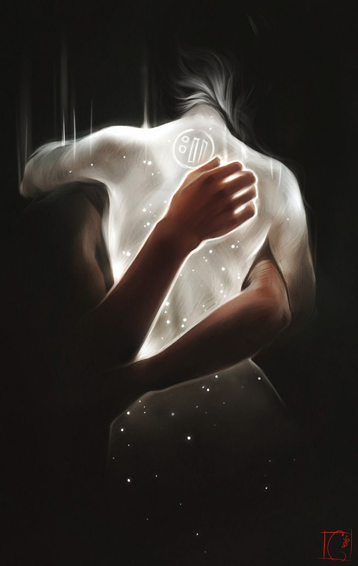 """Night"" - Alexandra Khitrova {man's arms embracing glowing twilight woman digital painting} audibuendia.deviantart.com"