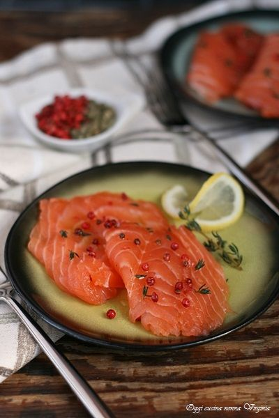 Salmone marinato pepe rosa e timo,Oggi cucina nonna Virginia