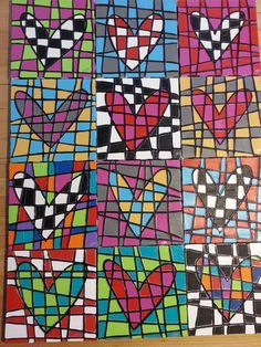 Draw a heart (or trace), have students use rulers to draw lines across. color heart in checkerboard then outside in two more colors.