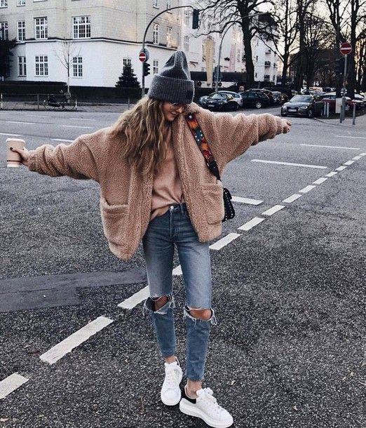 Jacket: tumblr fuzzy camel beige sweater beige sweater grey beanie beanie denim jeans blue jeans