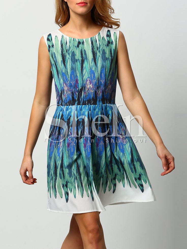Shop White Green Dyed Iridescent Puffball Sleeveless Feather Print Dress online. SheIn offers White Green Dyed Iridescent Puffball Sleeveless Feather Print Dress & more to fit your fashionable needs.